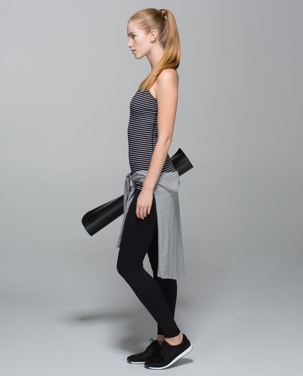 Lululemon Power Y Tank *Luon - Parallel Stripe Black White