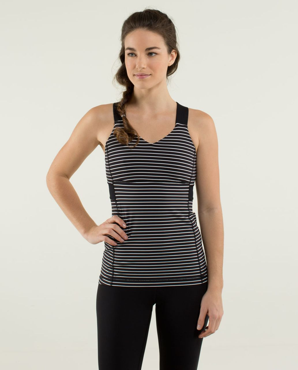 Lululemon Push Ur Limits Tank - Parallel Stripe Black White / Black