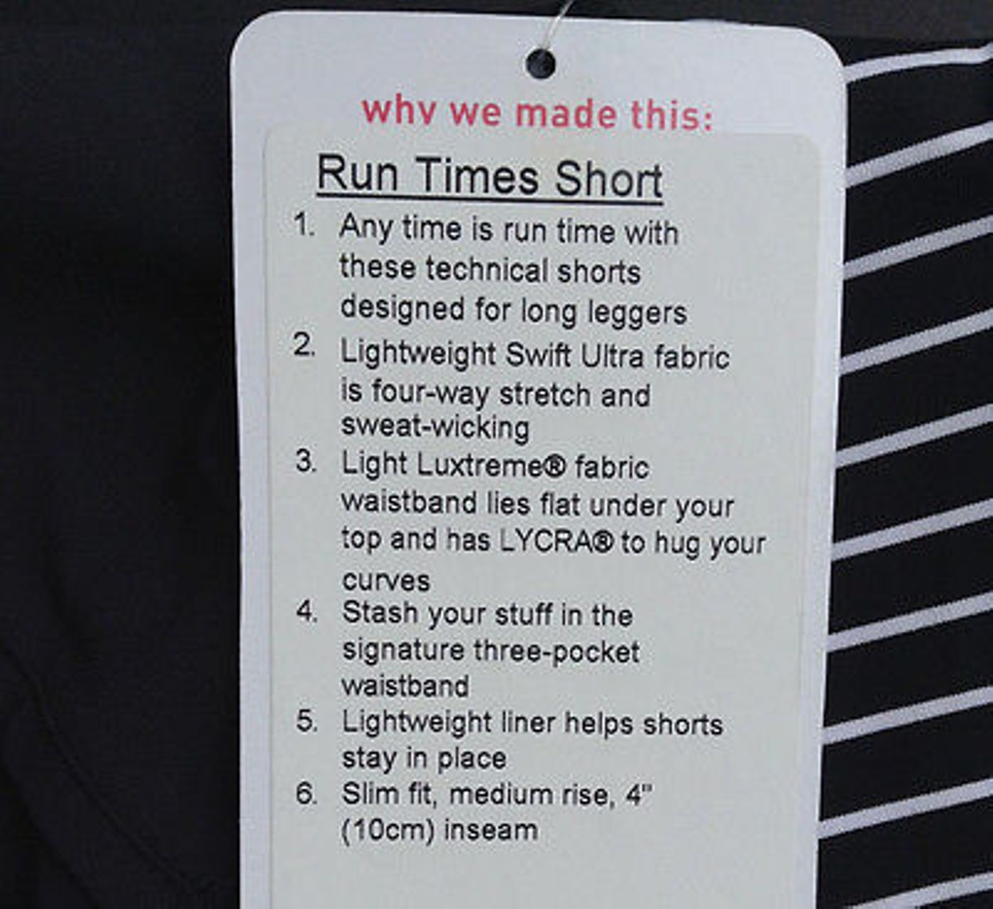 Lululemon Run Times Short - Black / Parallel Stripe White Black