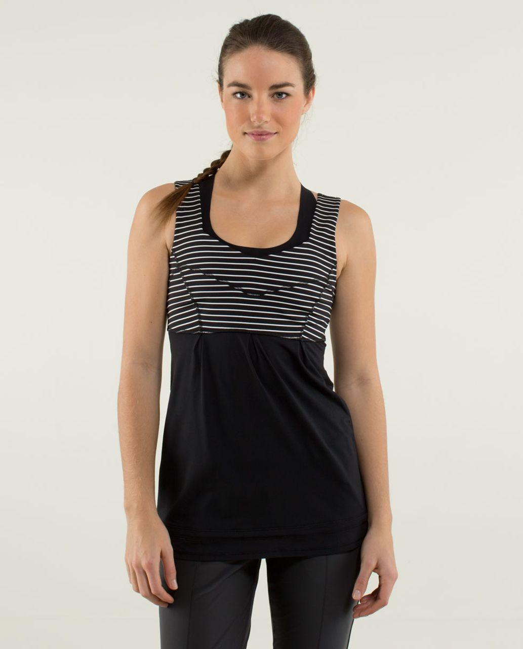 Lululemon Tame Me Tank - Black / Parallel Stripe Black White