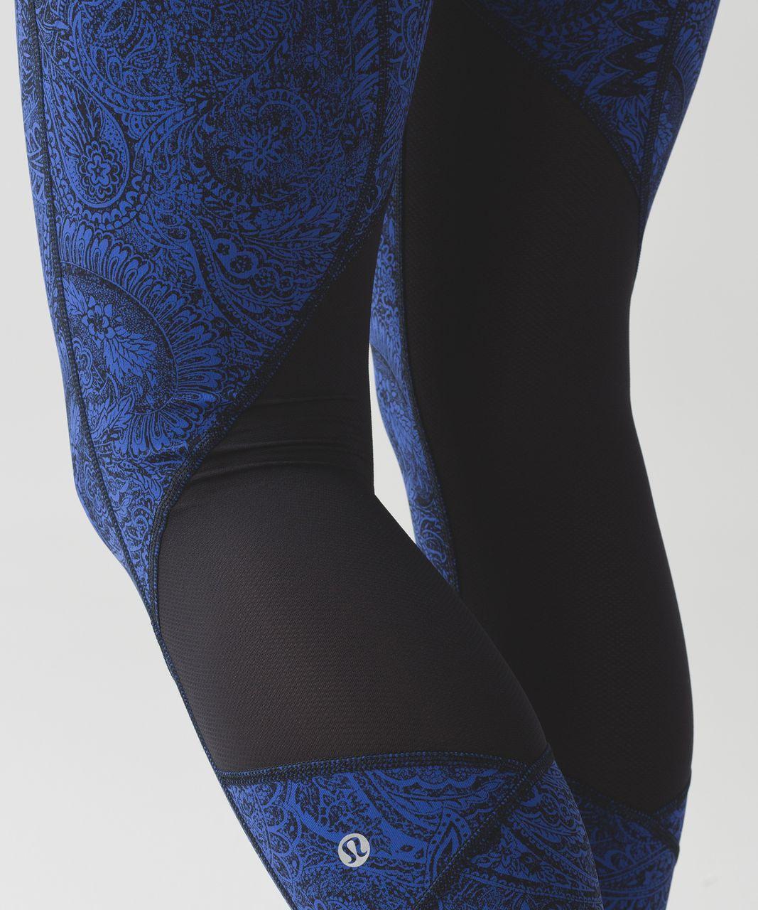 Lululemon Pace Rival Crop - Antique Paisley Sapphire Blue Black / Black