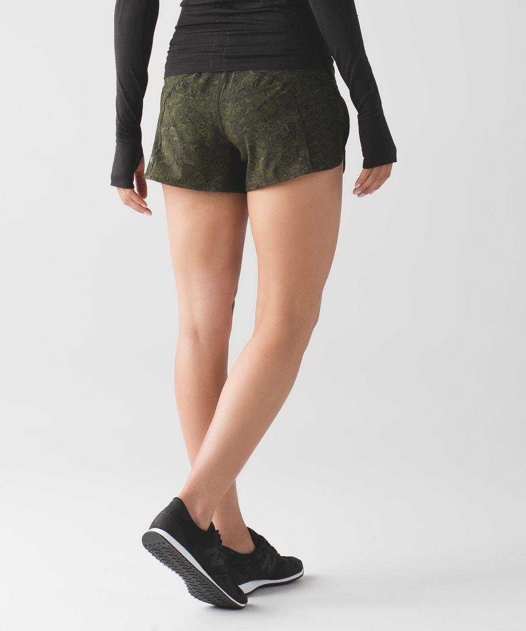 Lululemon Tracker Short IV - Mini Pencil Lace Brave Olive Black / Black