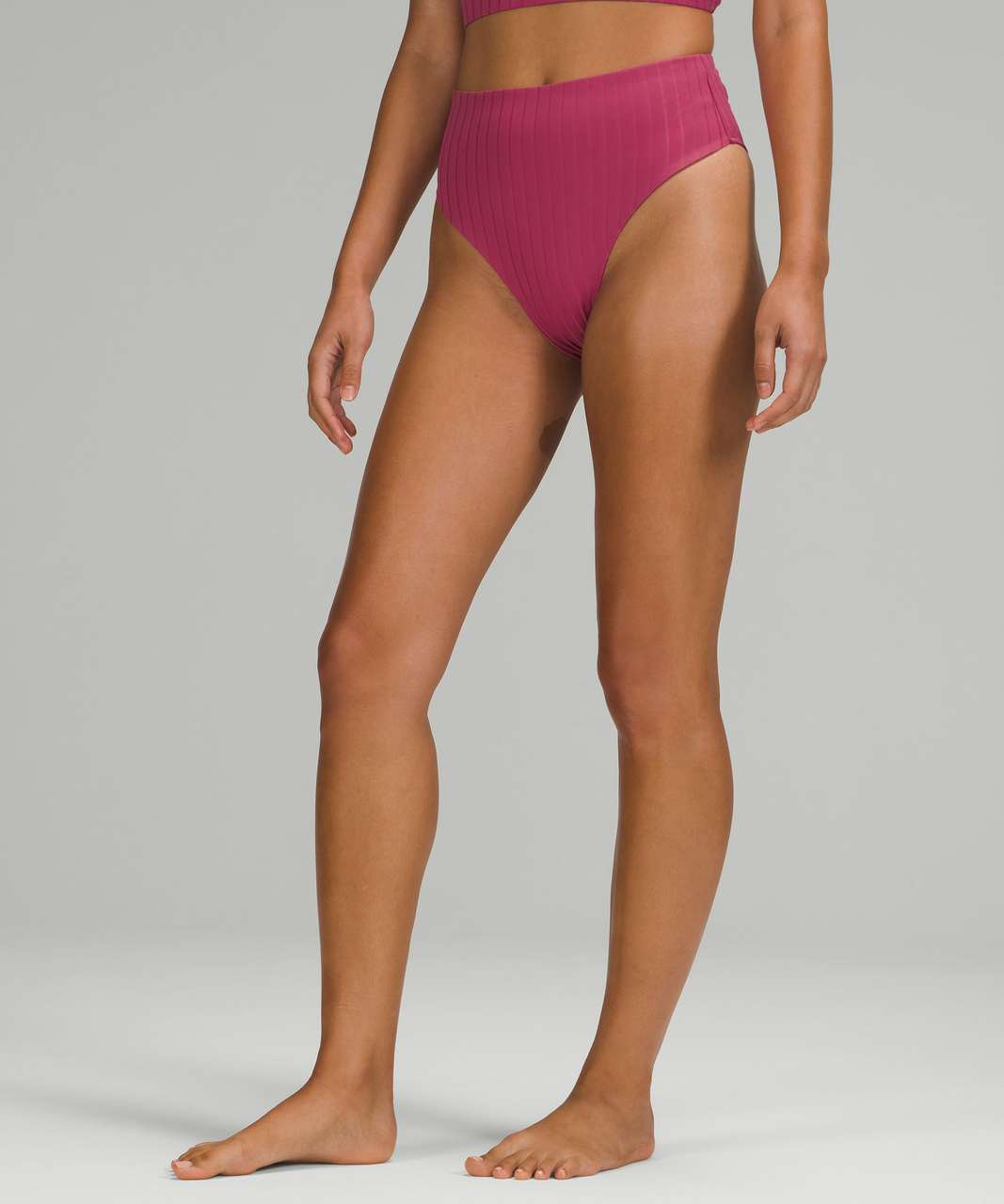 Lululemon Ribbed High-Waist Extra-Skimpy Swim Bottom - Pink Lychee