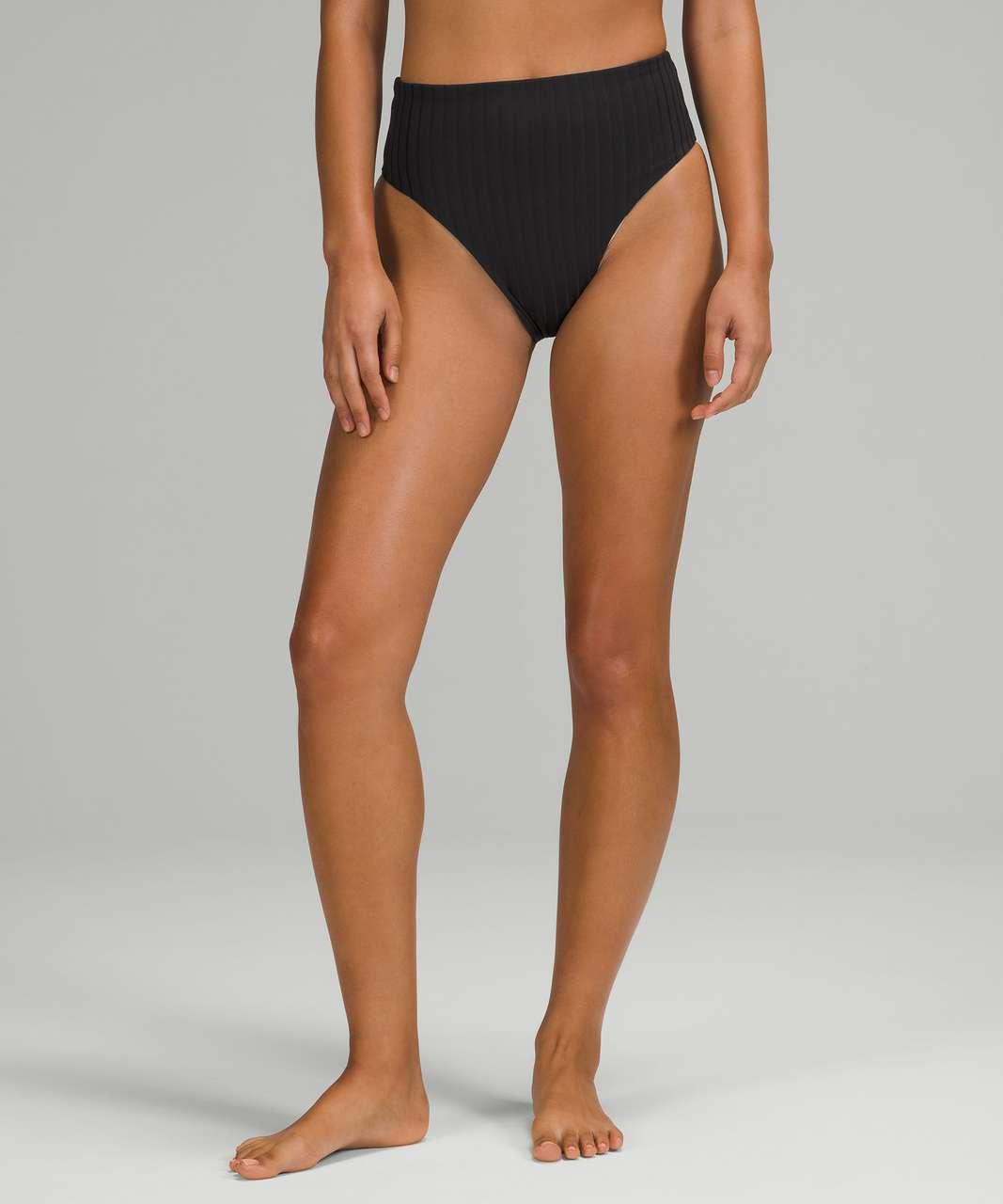 Lululemon Ribbed High-Waist Extra-Skimpy Swim Bottom - Black