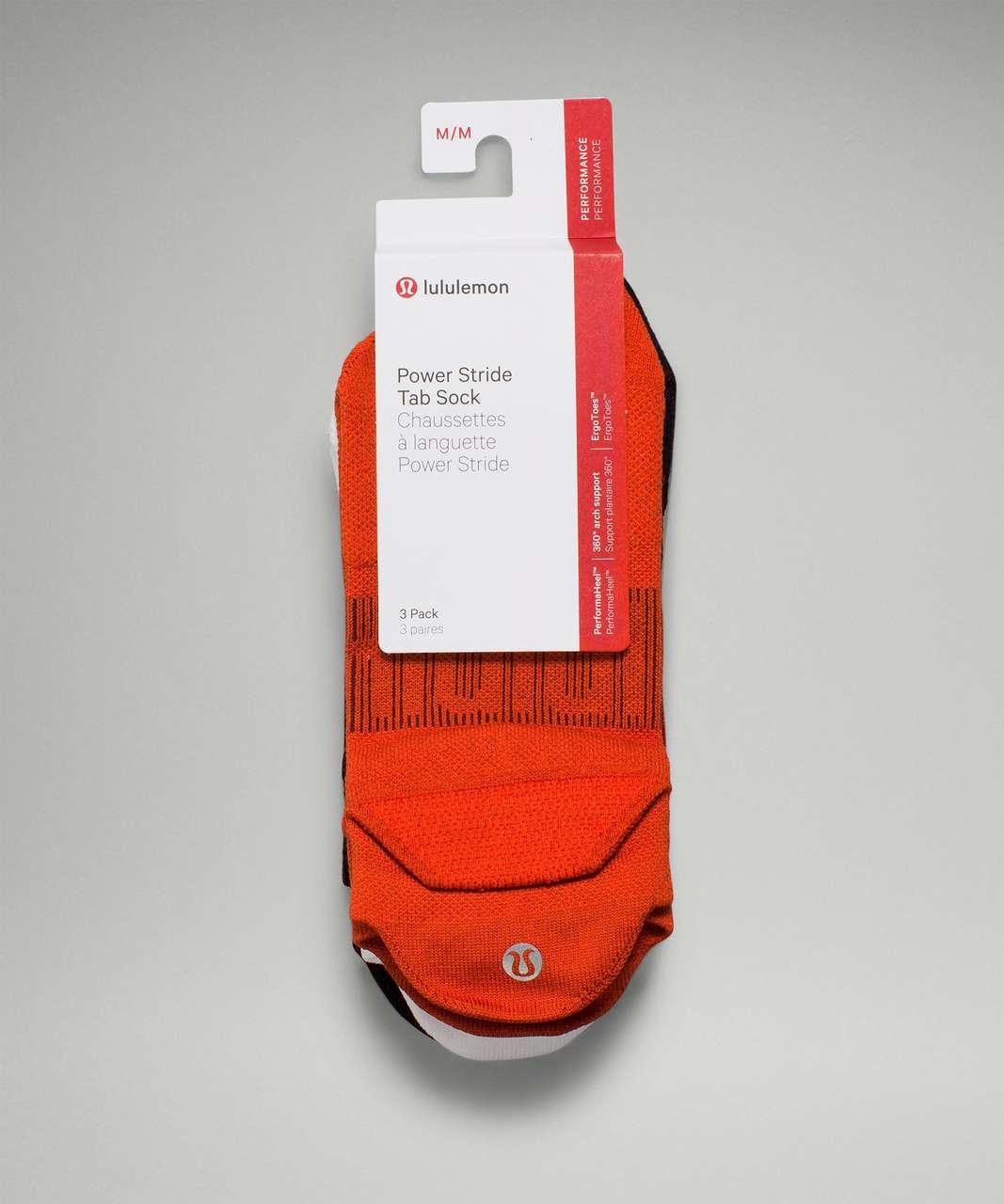 Lululemon Power Stride Tab Sock *3 Pack - Autumn Red / White / Black