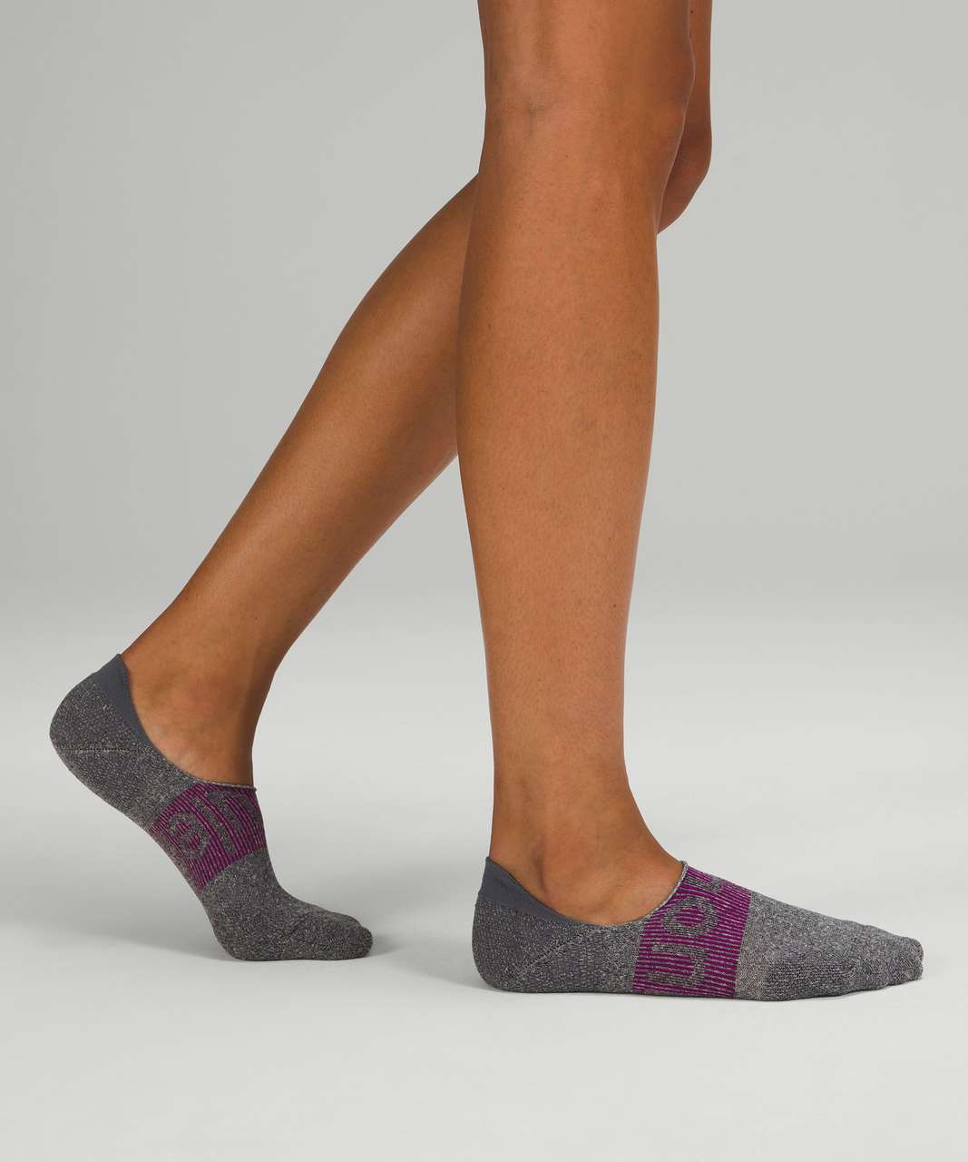 Lululemon Power Stride No-Show Sock with Active Grip *3 Pack - Heather Grey / Delicate Mint / Ripened Raspberry