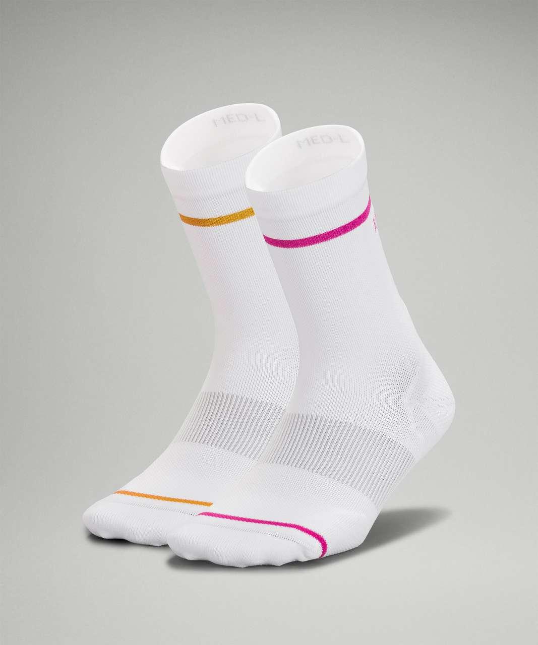Lululemon Power Stride Crew Sock *2 Pack - White / Clementine