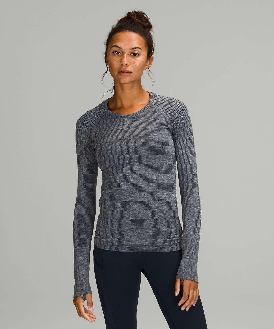 Lululemon Swiftly Tech Long Sleeve Shirt 2.0 - Tetra Stripe Classic Navy / True Navy / Alpine White / Rhino Grey