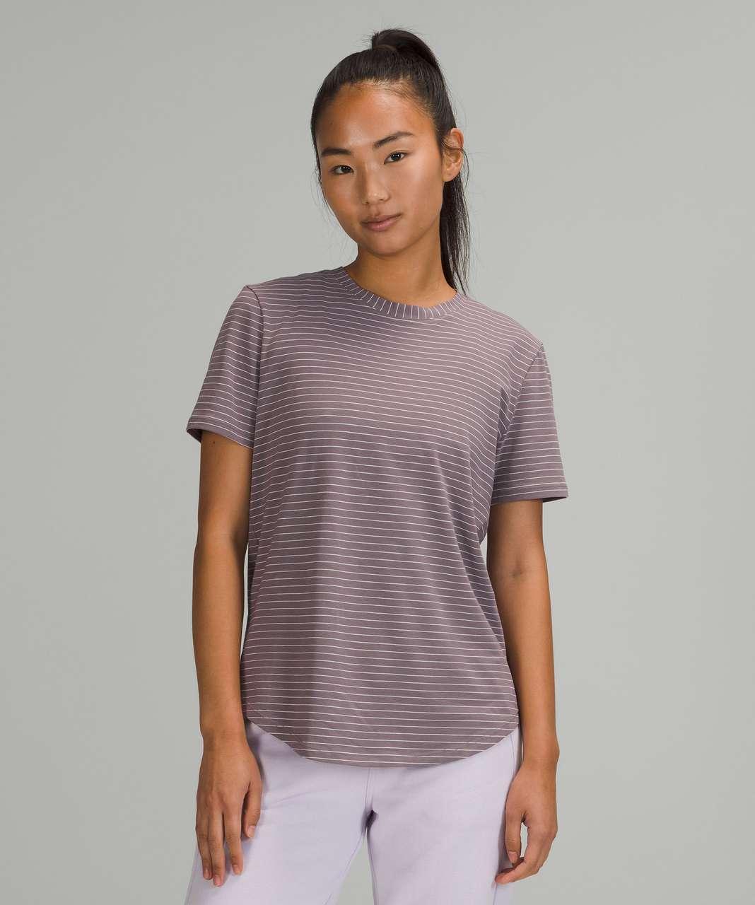 Lululemon Love Crew Short Sleeve T-Shirt - Synchronise Stripe Lunar Rock White