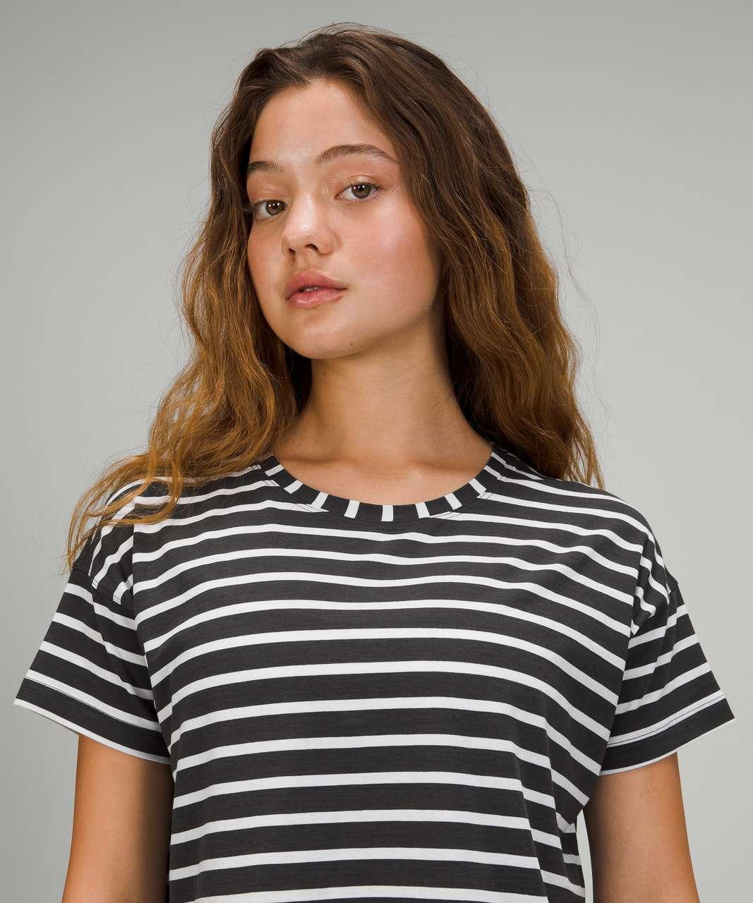 Lululemon Cates Tee - Yachtie Stripe Graphite Grey White