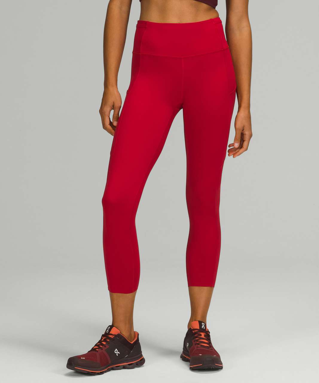 """Lululemon Fast and Free High-Rise Crop 23"""" - Dark Red"""