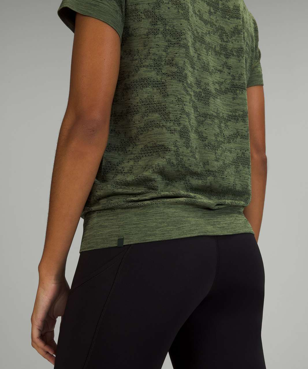 Lululemon Swiftly Breathe Short Sleeve Shirt - Dot Scape Rainforest Green / Green Twill