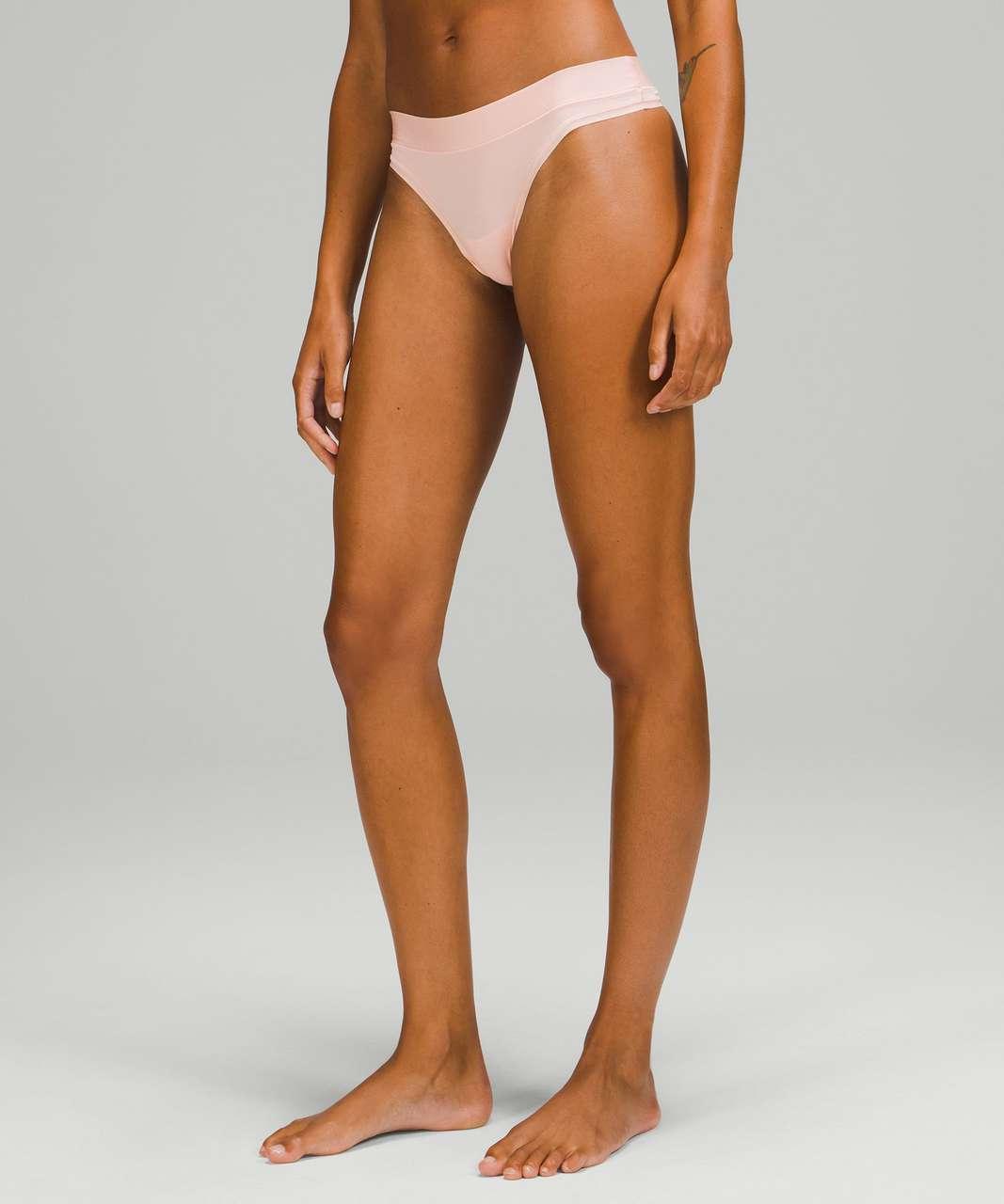 Lululemon UnderEase Mid Rise Thong Underwear 3 Pack - Heritage 365 Camo Mini Pecan Tan Multi / Pink Mist / Black