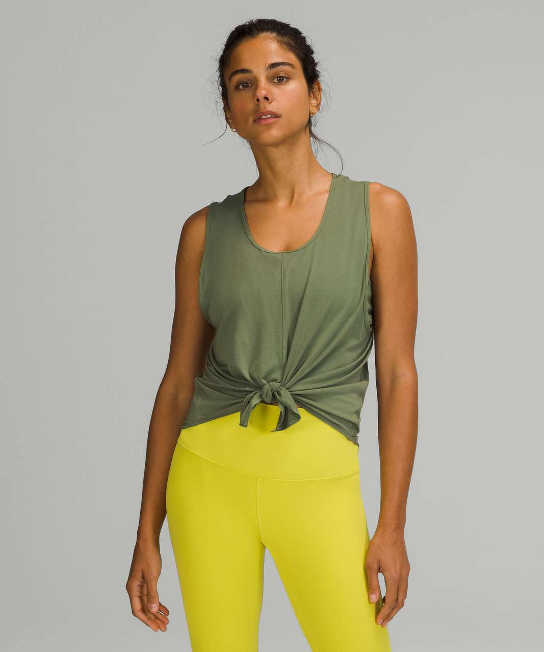 Lululemon Flow Y 2-in-1 Yoga Tank Top *Light Support, A–C Cups - Green Twill