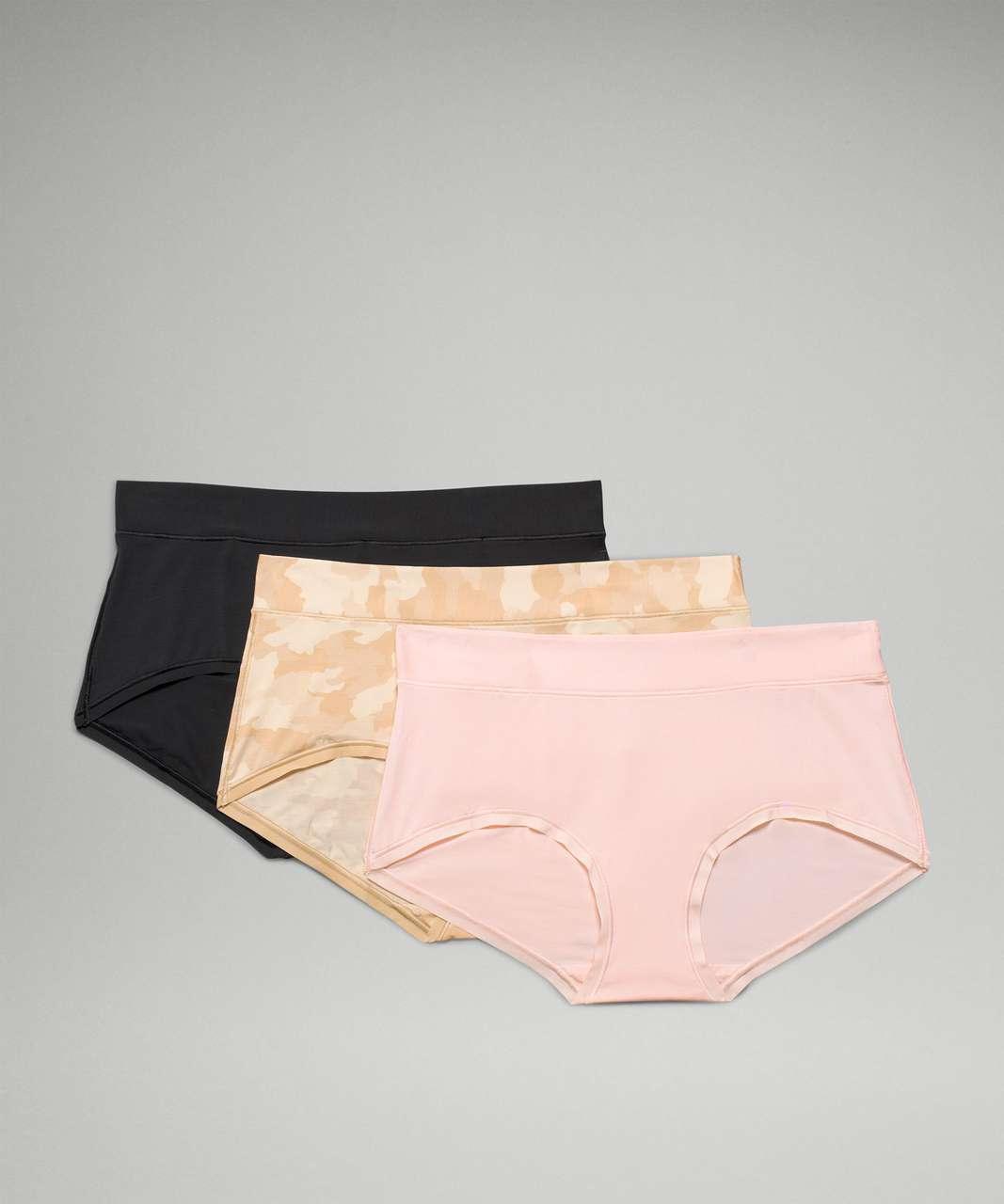 Lululemon UnderEase Mid Rise Boyshort Underwear 3 Pack - Heritage 365 Camo Mini Pecan Tan Multi / Pink Mist / Black