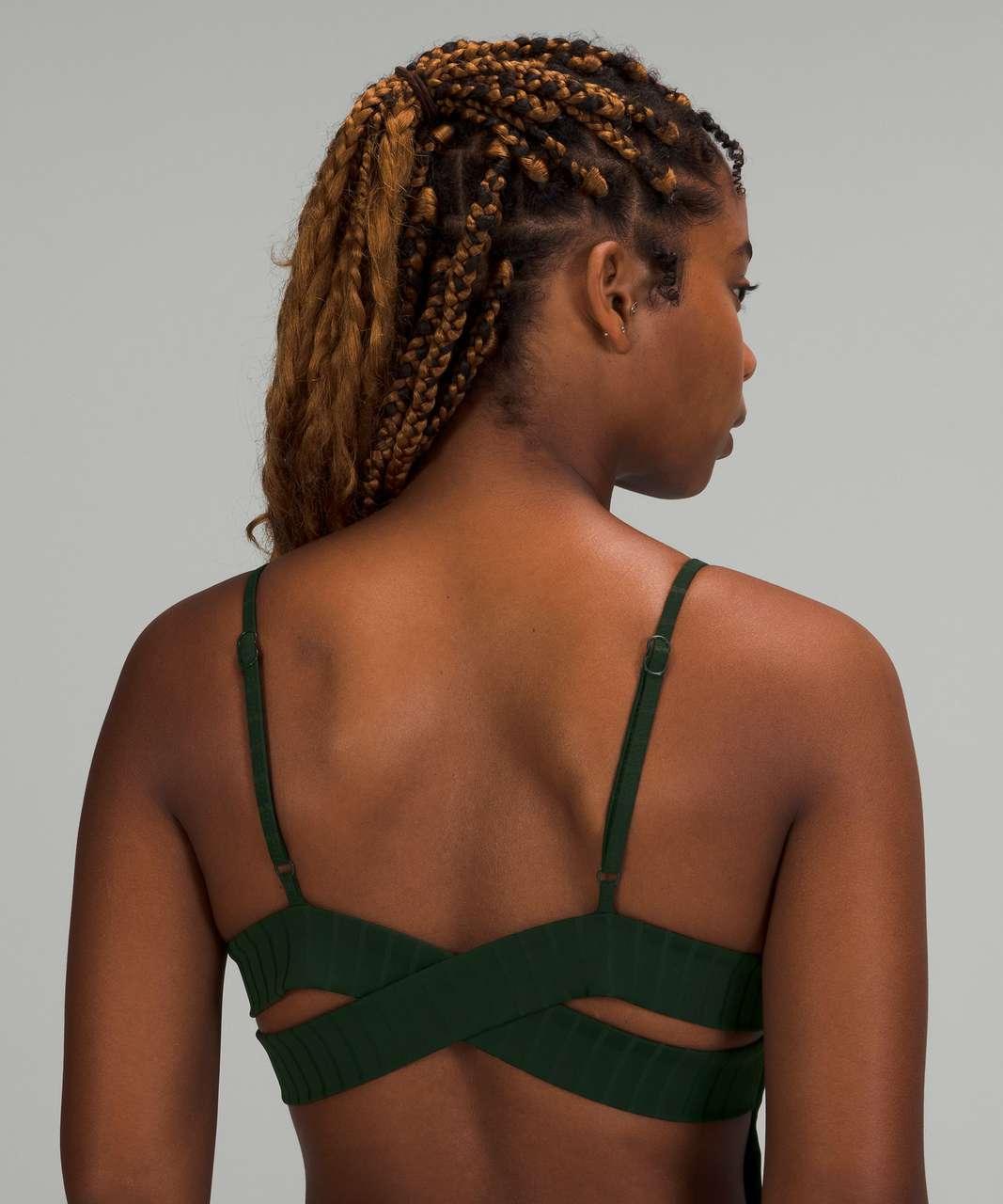Lululemon Ribbed High-Neck Cross-Back One-Piece - Rainforest Green