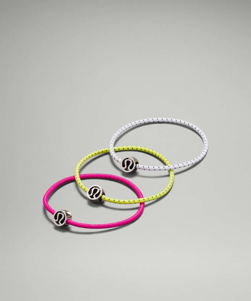 Lululemon Glow On Hair Ties - Pow Pink / Yellow Serpentine / White