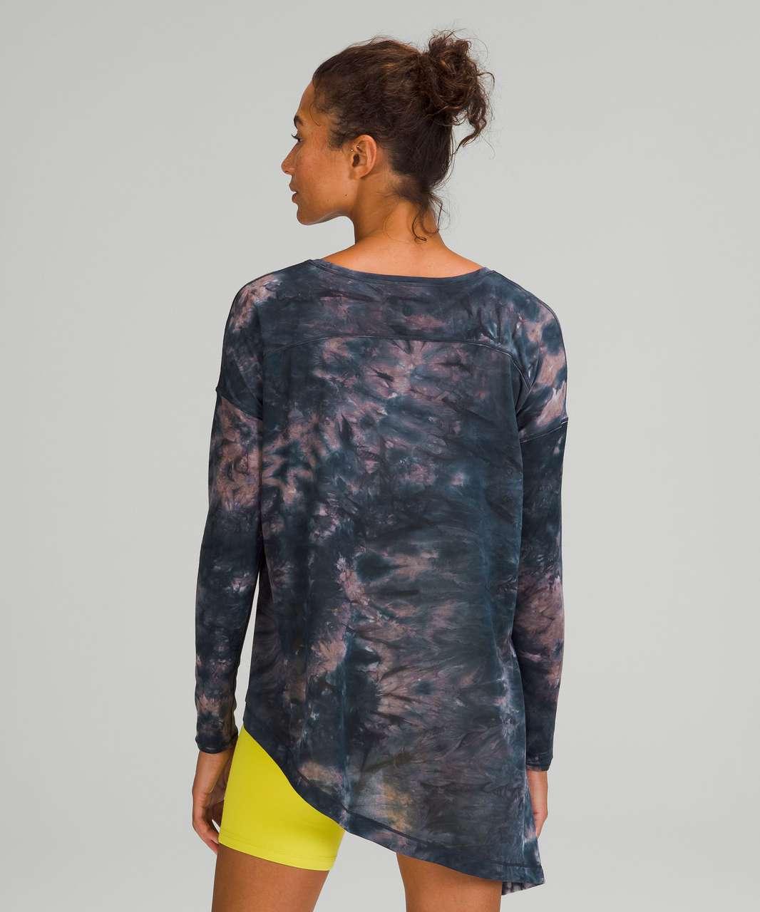 Lululemon To The Point Long Sleeve *Mist - Spray Dye White Lunar Rock True Navy