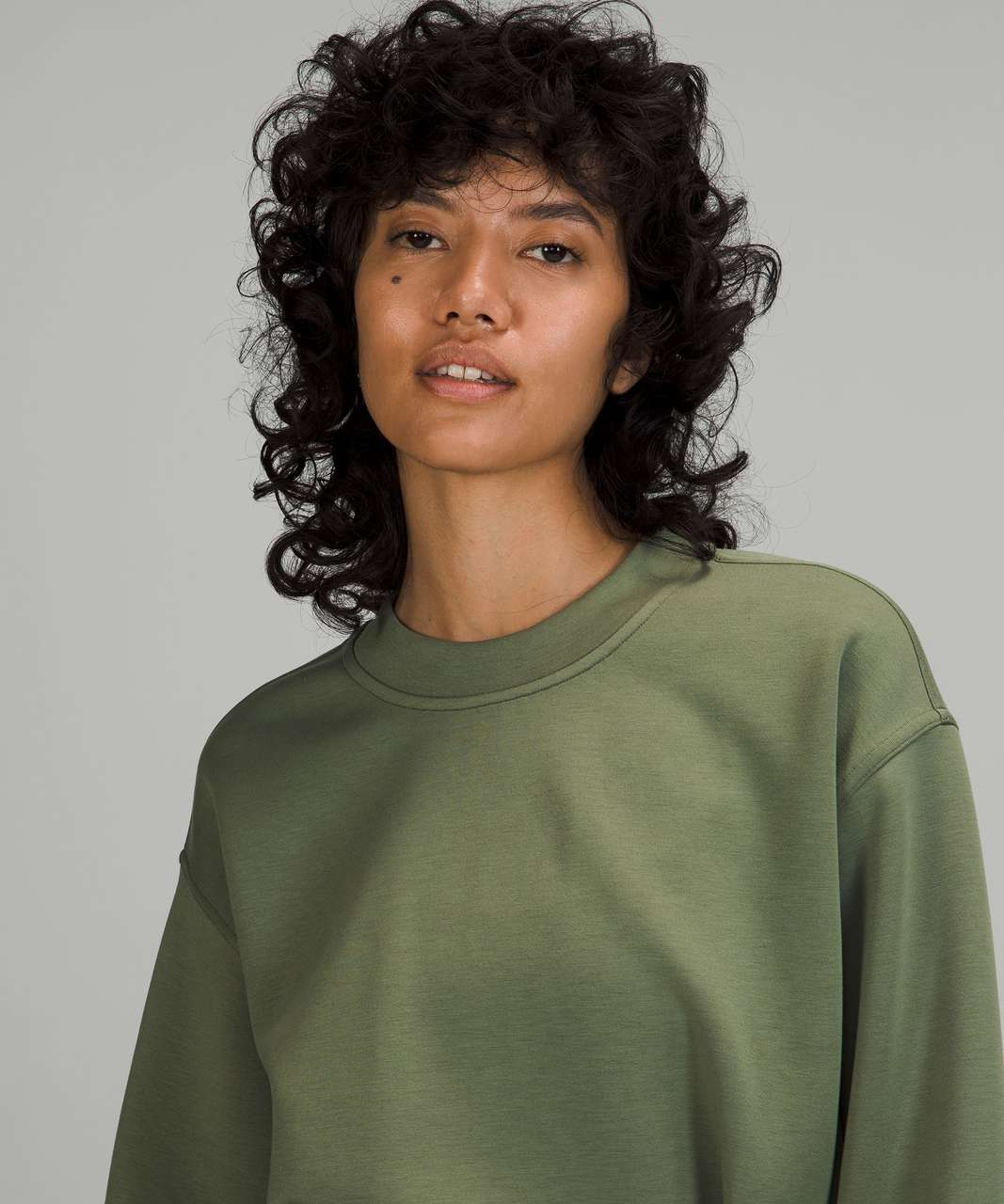 Lululemon Gathered Waist Crew Pullover - Green Twill