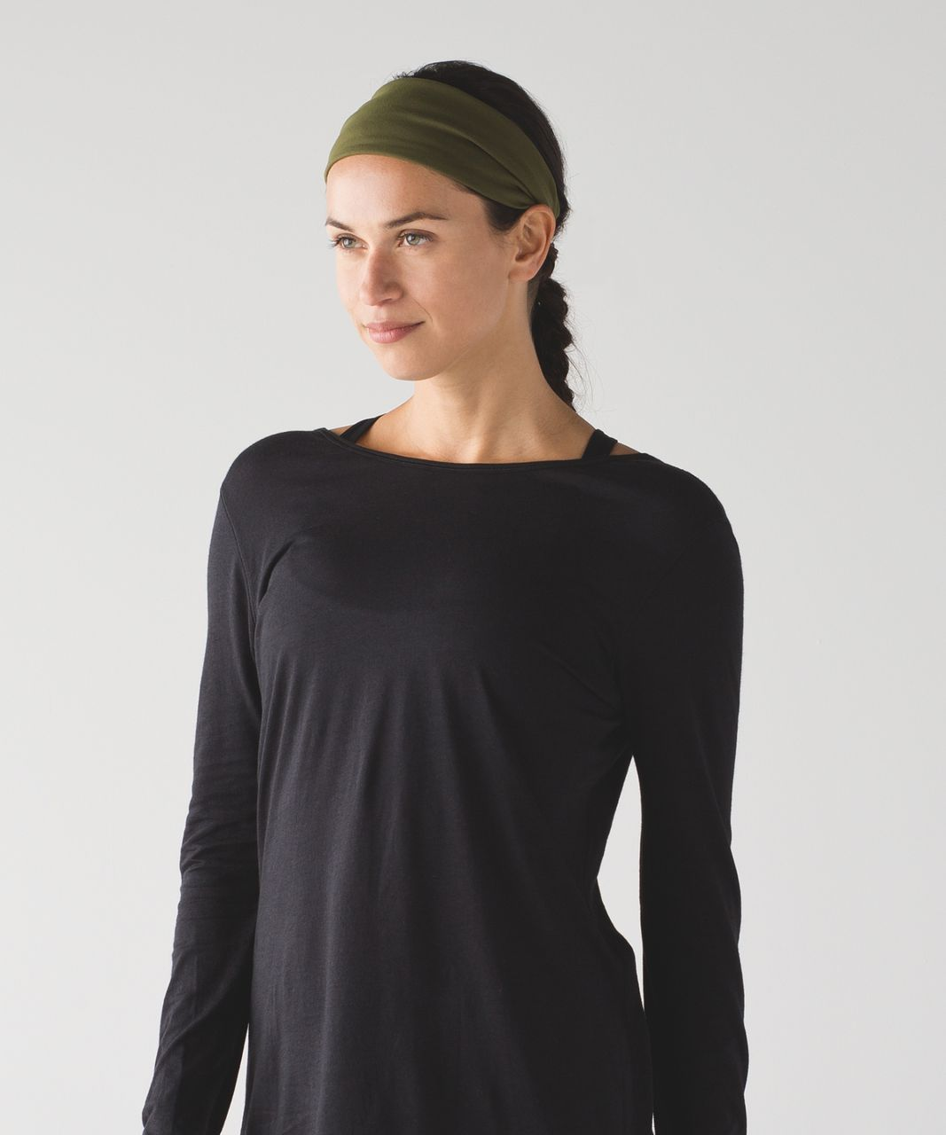 Lululemon Fringe Fighter Headband - Brave Olive / Heathered Black