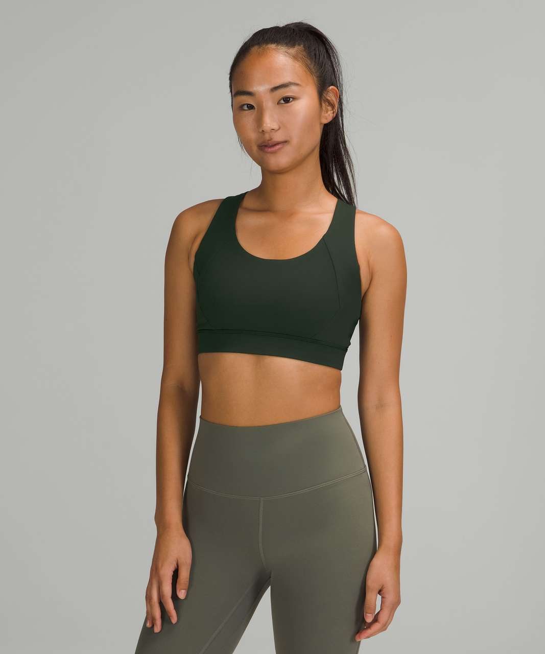 Lululemon Free to Be Elevated Bra *Light Support, DD/DDD(E) Cups - Rainforest Green / Green Twill