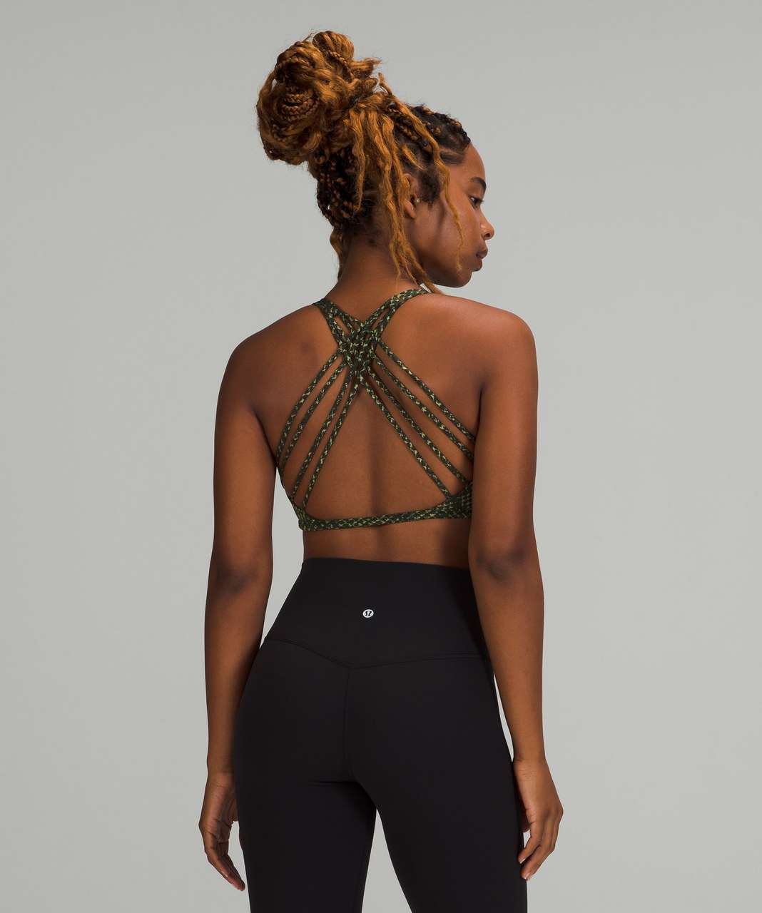 Lululemon Free to Be Bra - Wild *Light Support, A/B Cup - Reptilia Jacquard Rainforest Green Rosemary Green