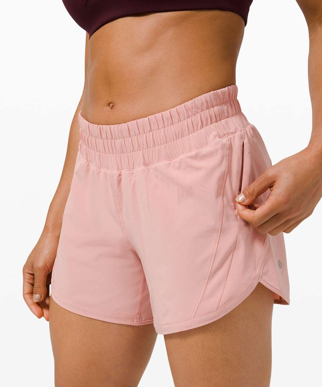 """Lululemon Track That Mid-Rise Lined Short 5"""" - Pink Puff"""