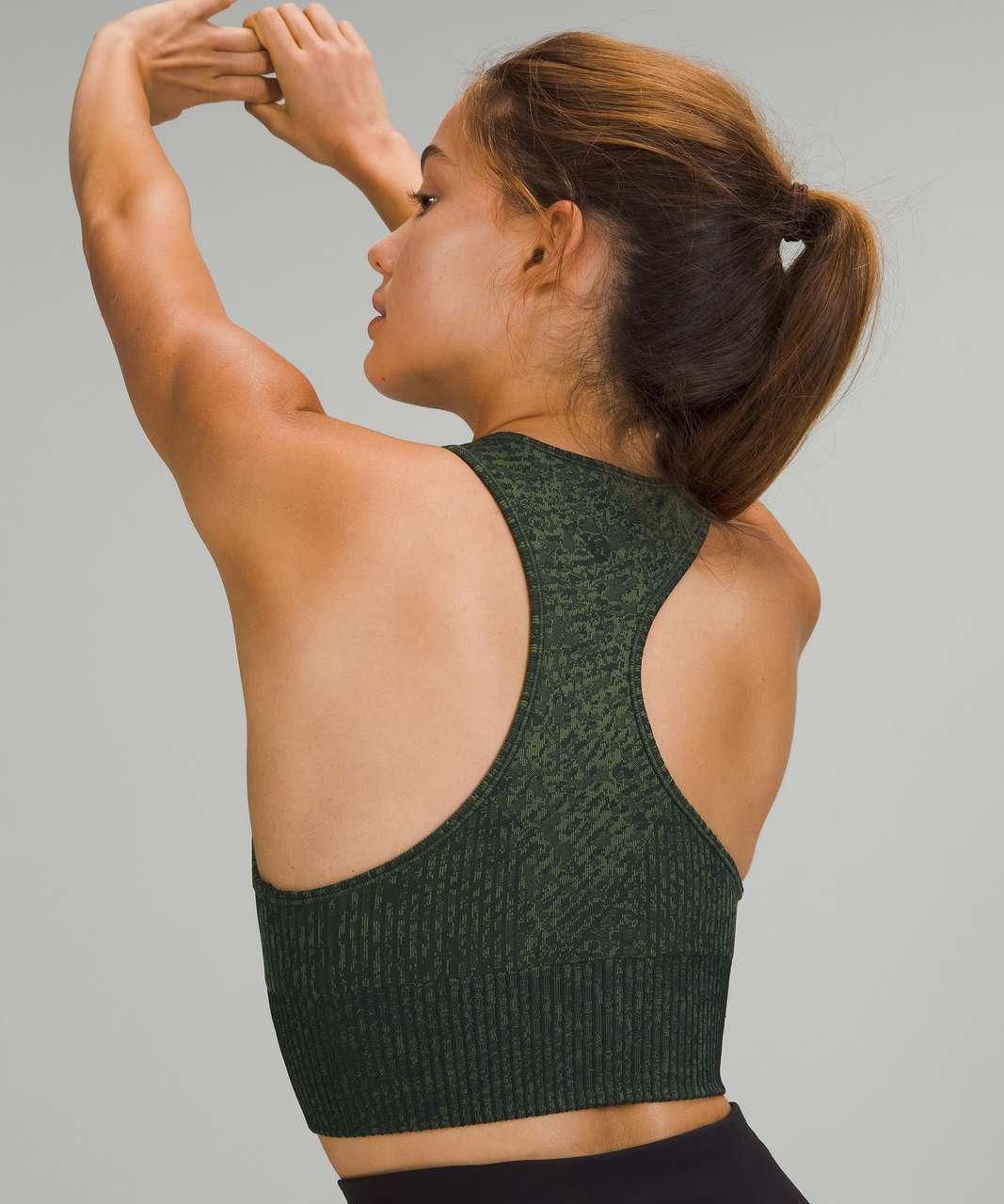Lululemon Ebb to Train Bra *Medium Support, C/D Cup - Pattern Mix Rainforest Green / Green Twill