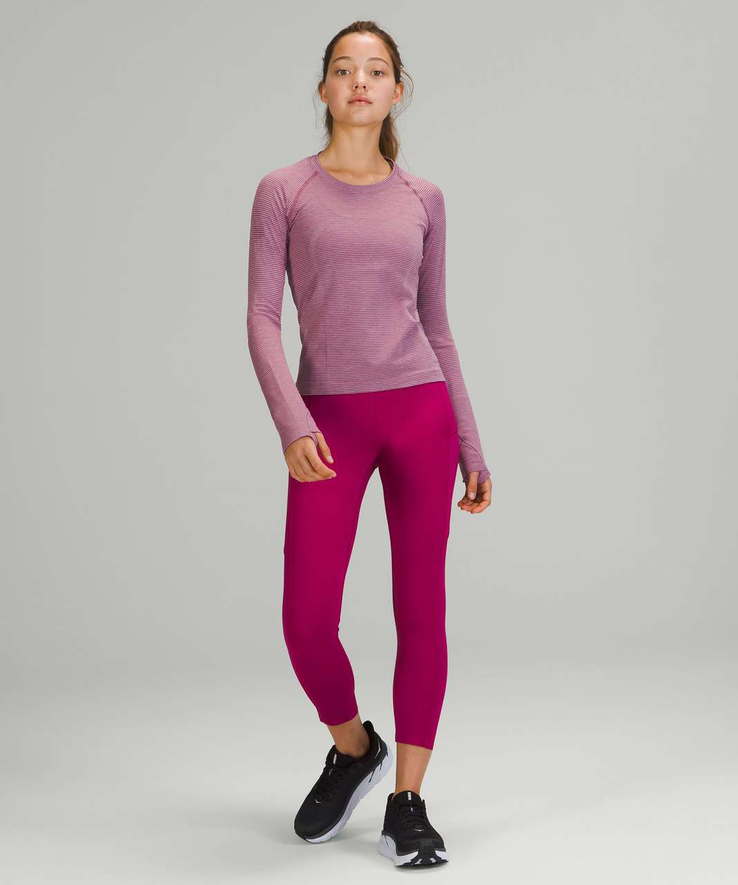 Lululemon Swiftly Tech Long Sleeve Shirt 2.0 *Race Length - Tetra Stripe Rhino Grey / Ripened Raspberry / Pink Blossom / Pink Lychee