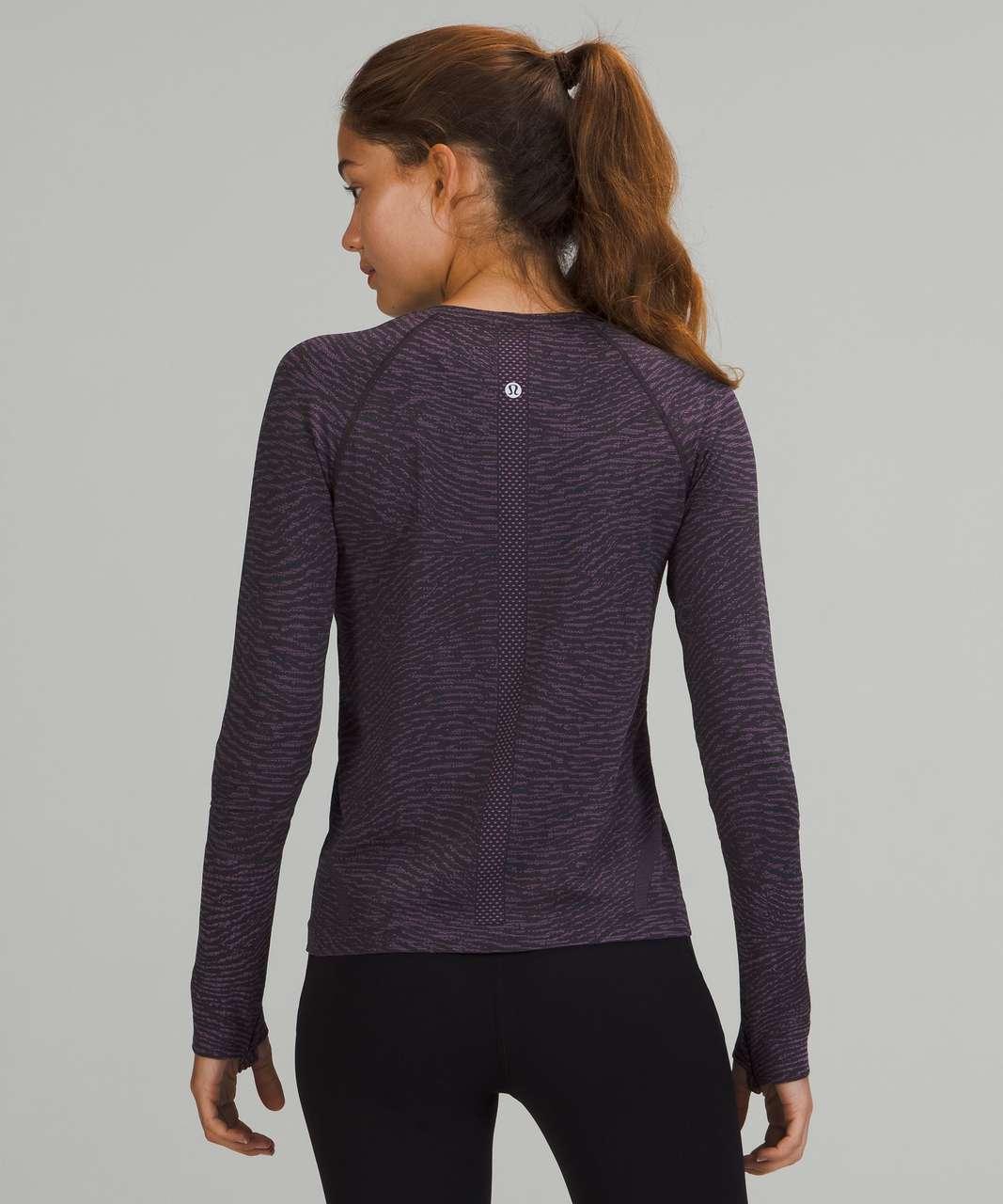 Lululemon Swiftly Tech Long Sleeve Shirt 2.0 *Race Length - Water Surface Black Granite / Wisteria Purple