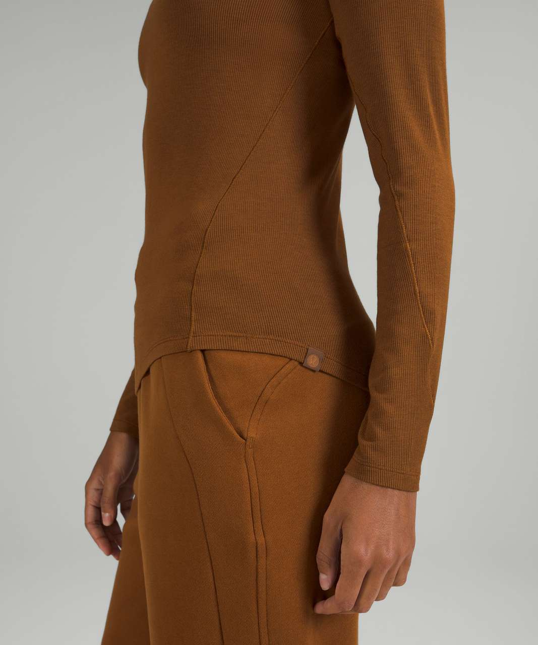 Lululemon Hold Tight Ribbed Long Sleeve Shirt - Copper Brown