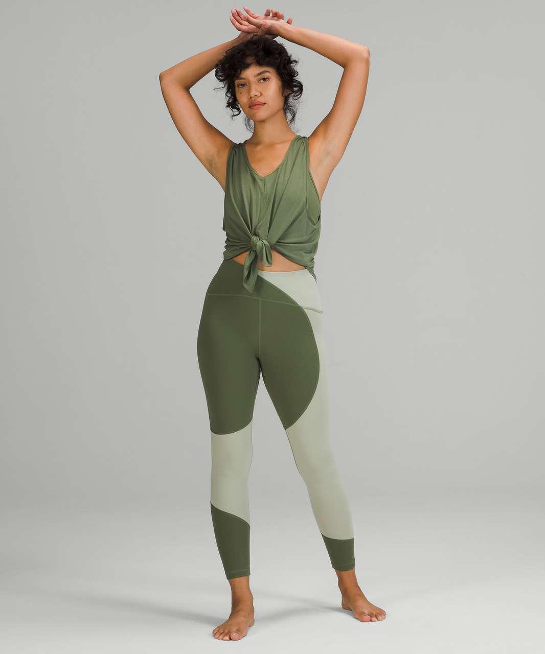 "Lululemon Nulu Colour Block High-Rise Tight 25"" - Green Twill / Green Fern"