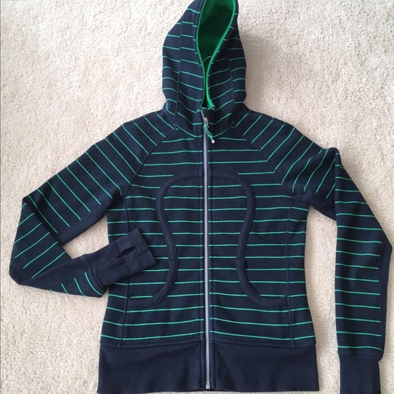 Lululemon Scuba Hoodie *Stretch (Lined Hood) - Slalom Stripe Printed Inkwell / Green Bean / Inkwell