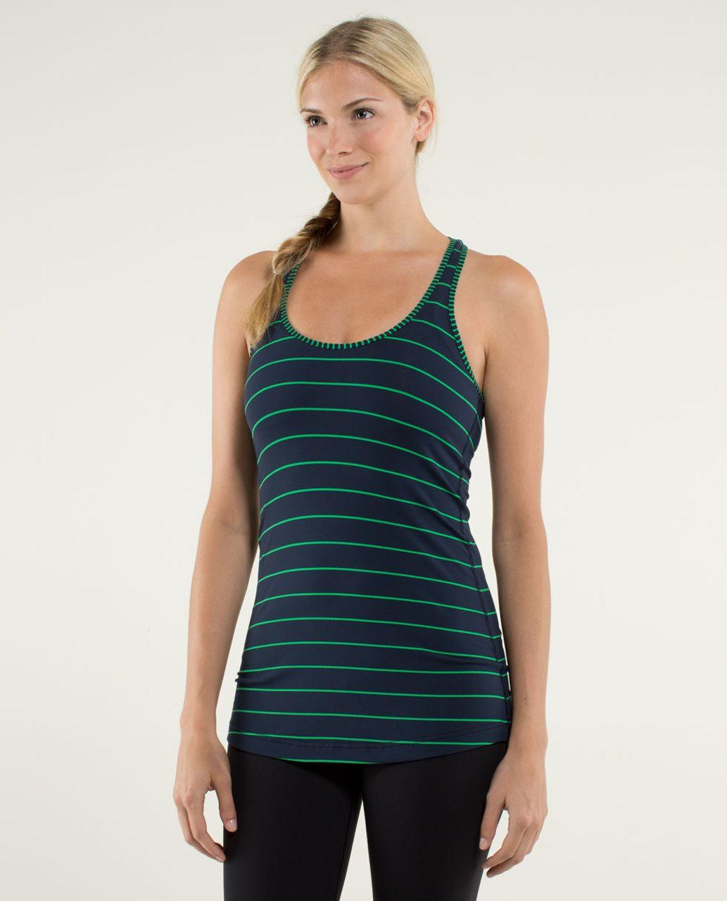 Lululemon Cool Racerback - Slalom Stripe Inkwell / Hyper Stripe Green Bean