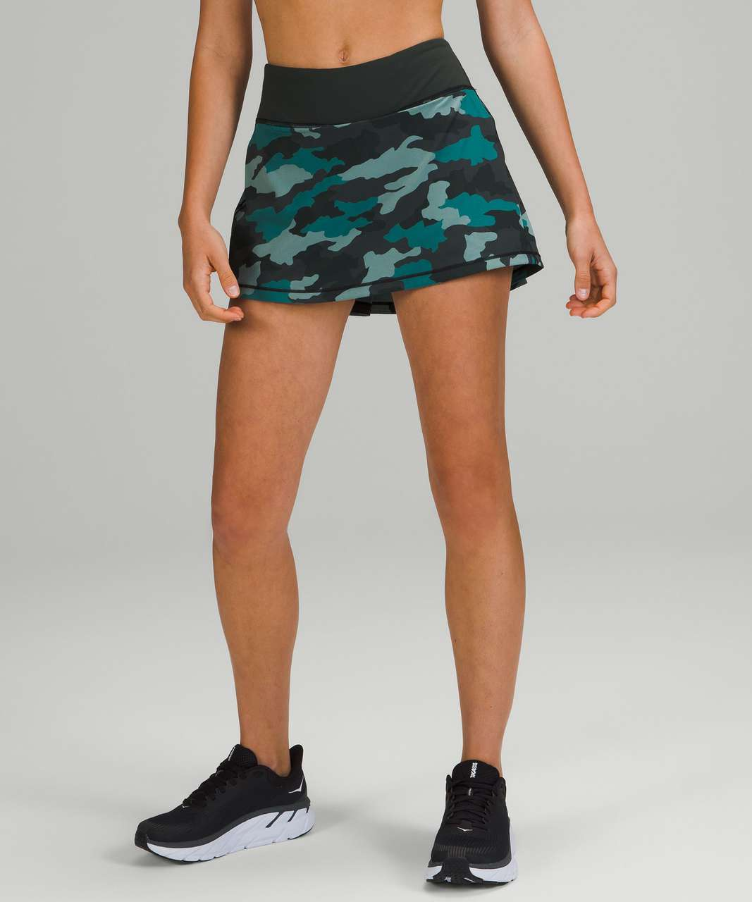 Lululemon Pace Rival Mid-Rise Skirt - Heritage 365 Camo Tidewater Teal Multi / Rainforest Green