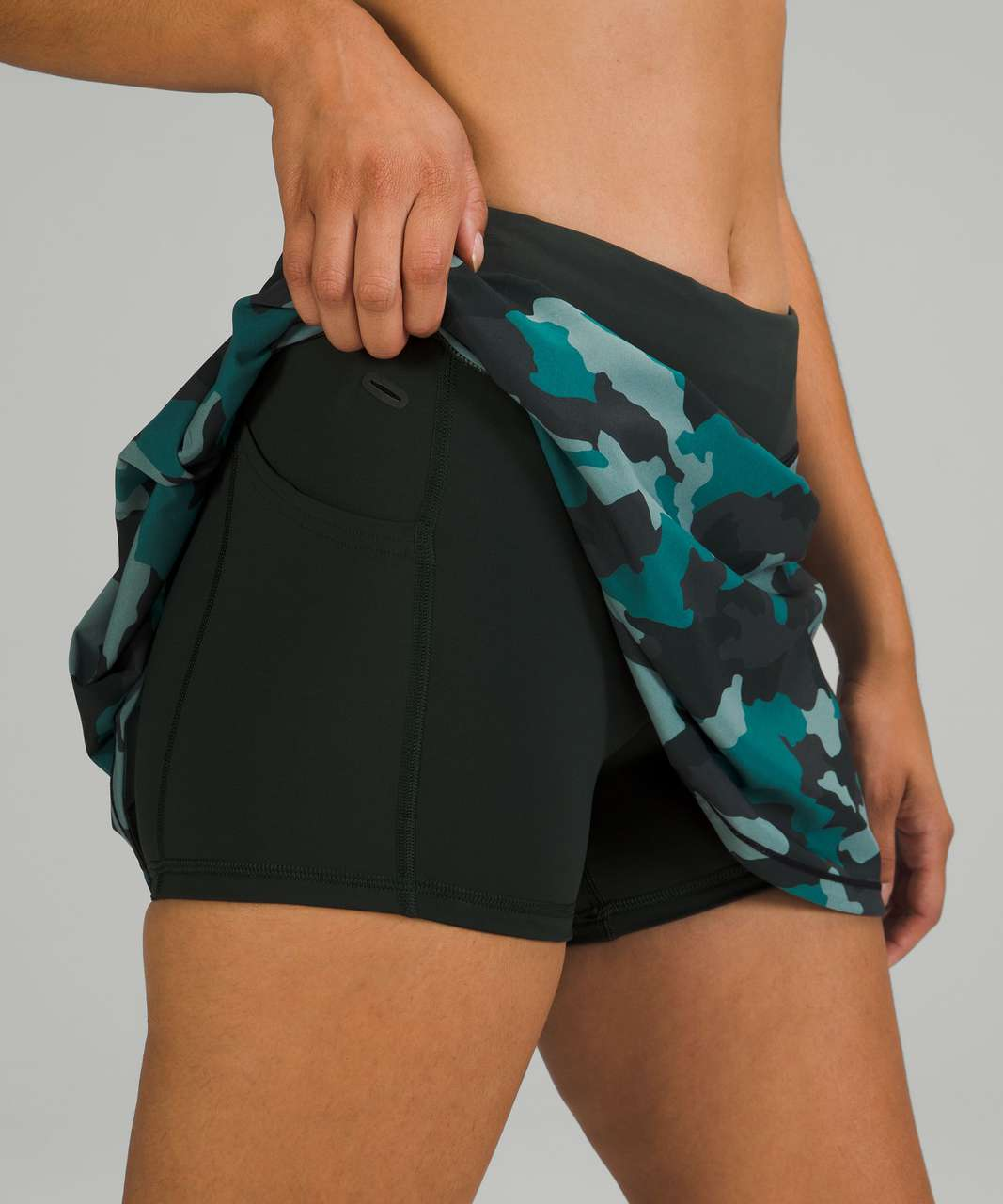 Lululemon Pace Rival Mid-Rise Skirt *Long - Heritage 365 Camo Tidewater Teal Multi / Rainforest Green