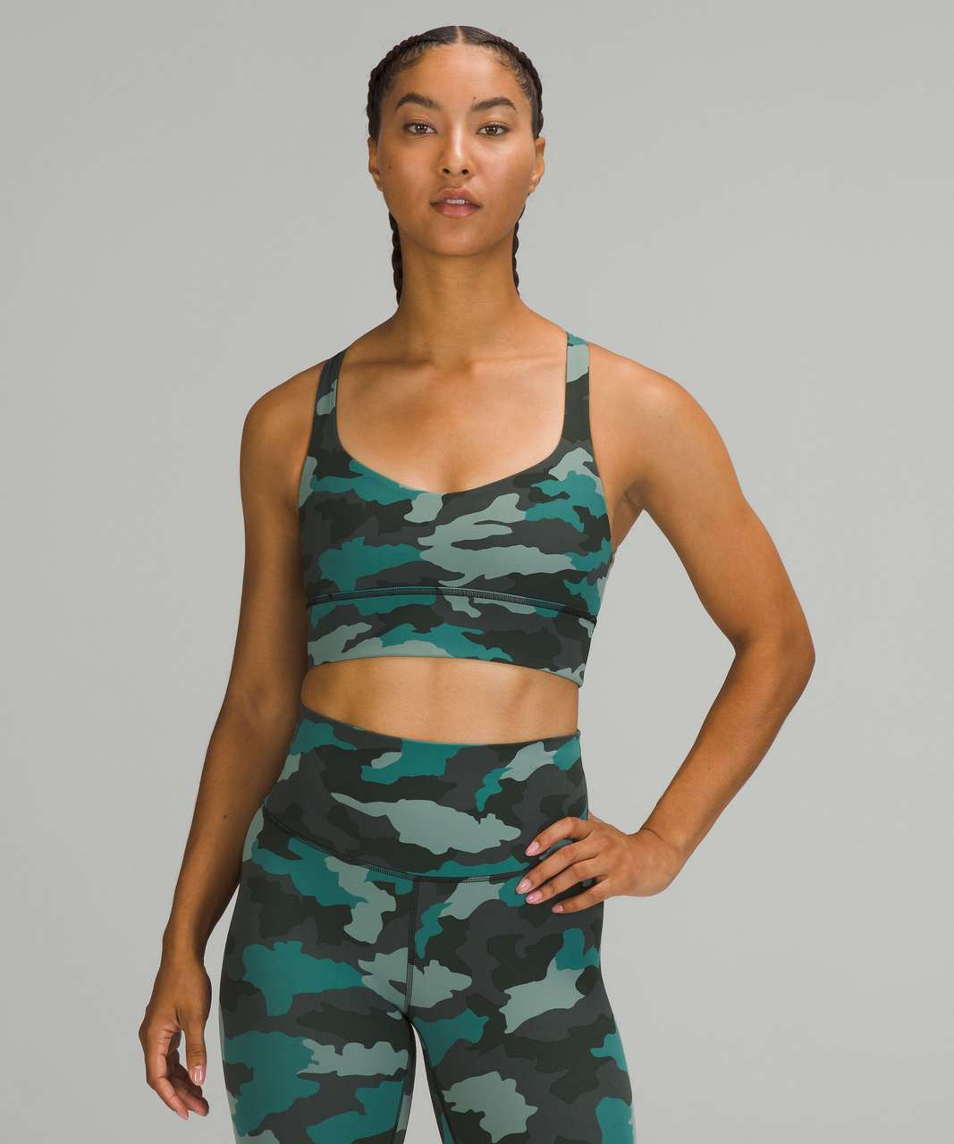 Lululemon Free to Be Longline Bra - Wild *Light Support, A/B Cups - Heritage 365 Camo Tidewater Teal Multi