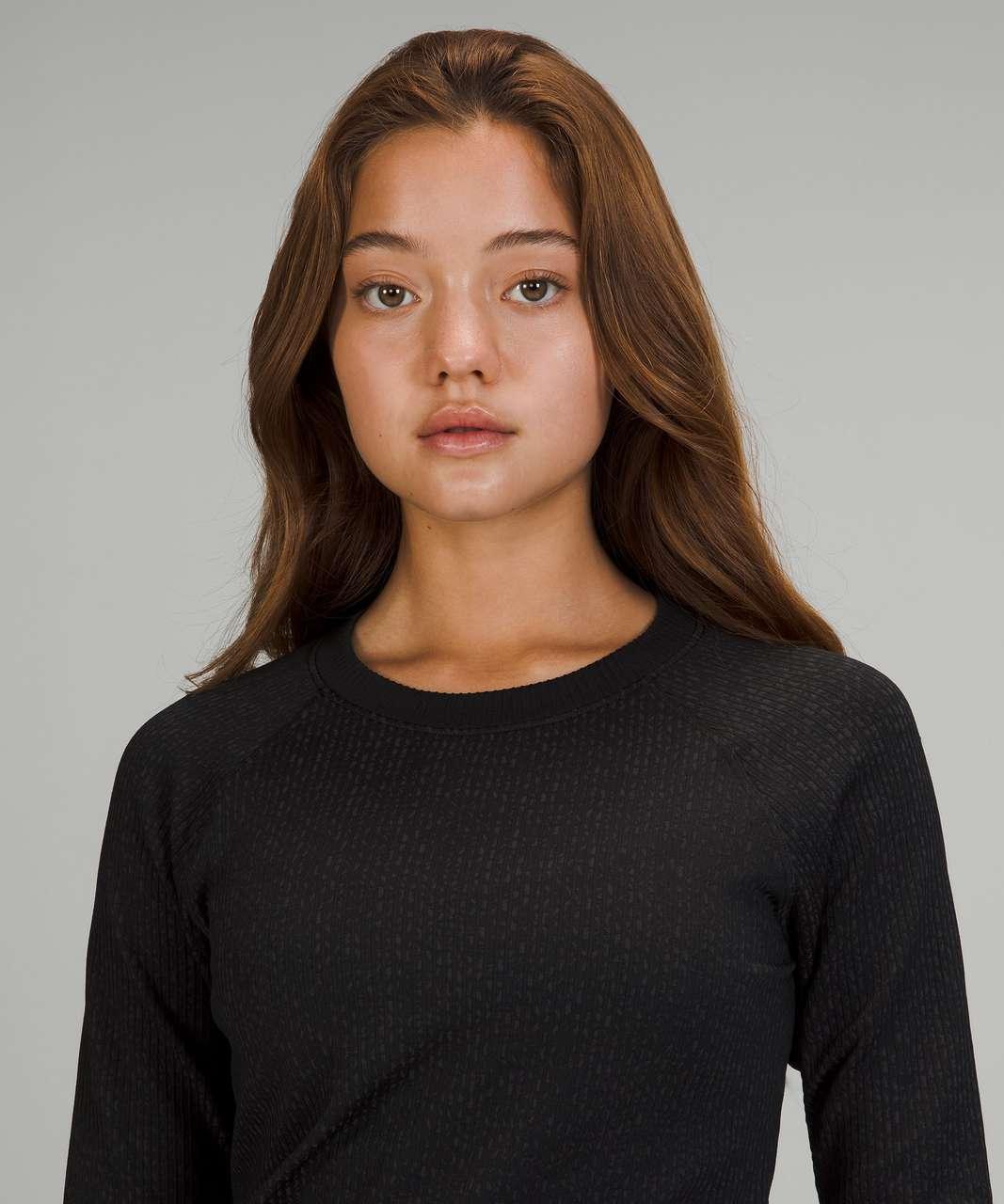 Lululemon Rest Less Pullover - Texture Grid Black / Graphite Grey