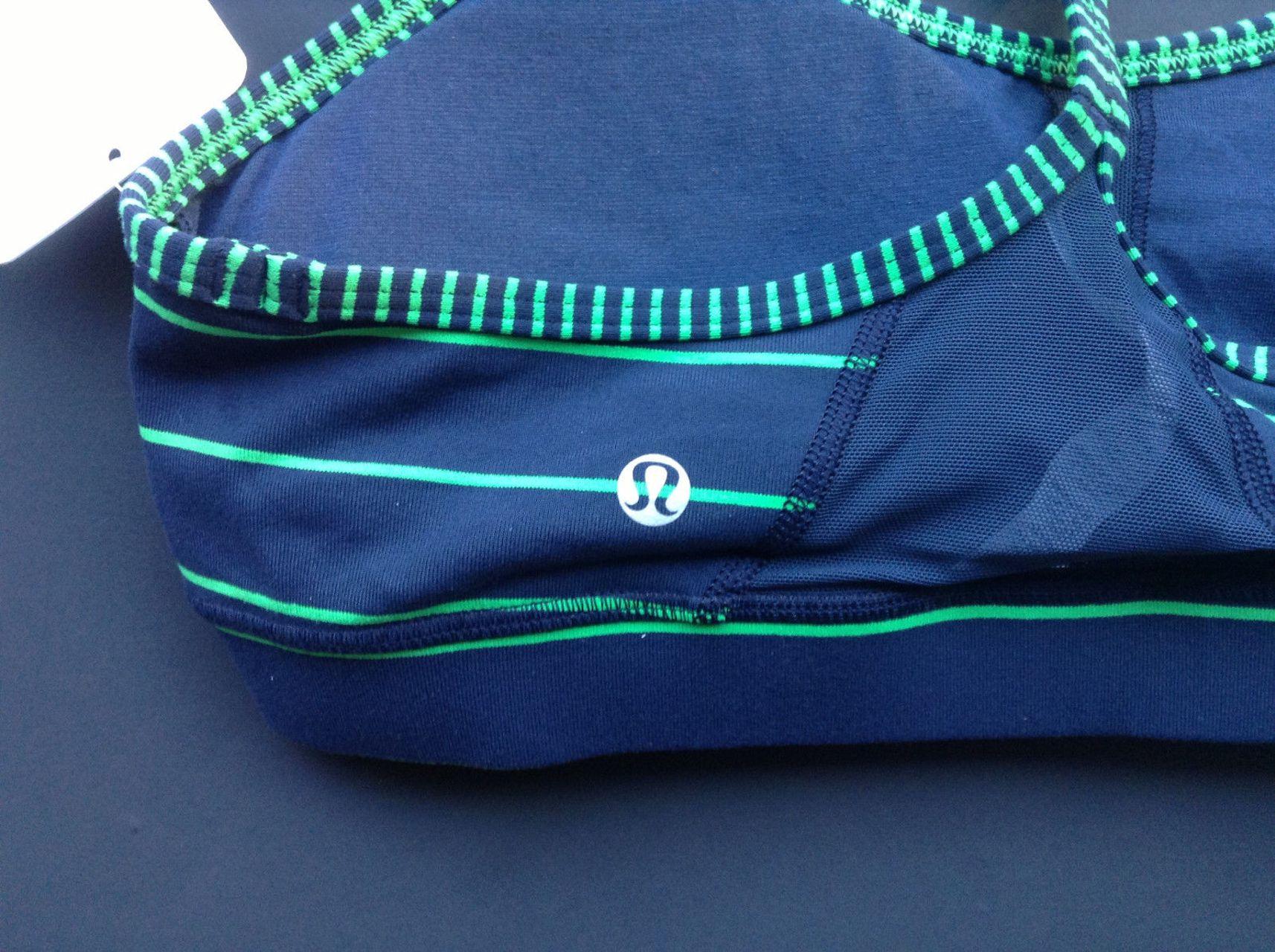 Lululemon Flow Y Bra IV - Slalom Stripe Inkwell / Hyper Stripe Green Bean / Inkwell