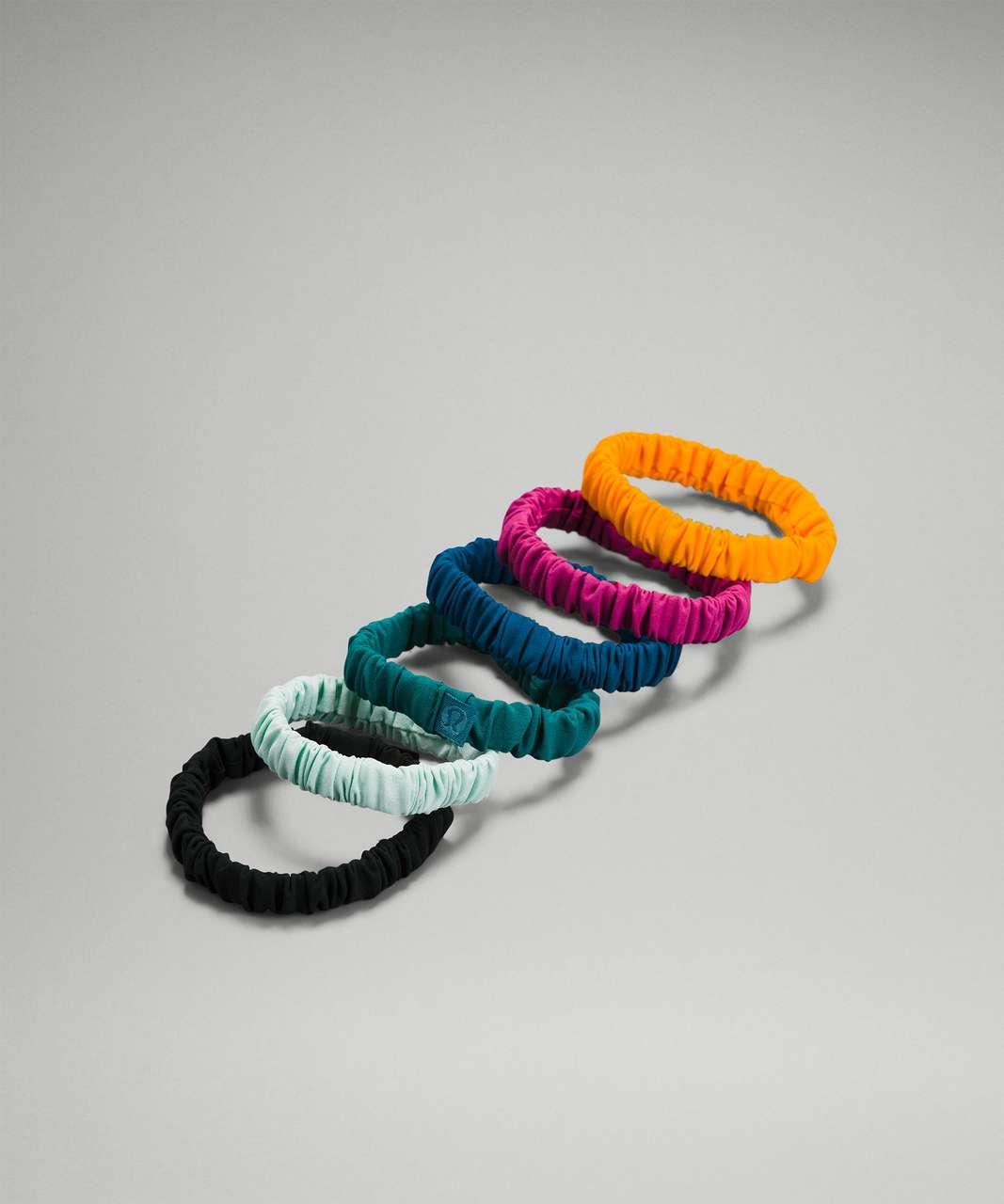 Lululemon Skinny Scrunchie *6 Pack - Rainforest Green / Capri / Delicate Mint / Teal Lagoon / Pink Lychee / Clementine