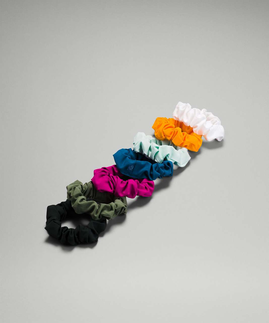 Lululemon Uplifting Scrunchie *7 Pack - Rainforest Green / Green Twill / Ripened Raspberry / Capri / Delicate Mint / Clementine / White
