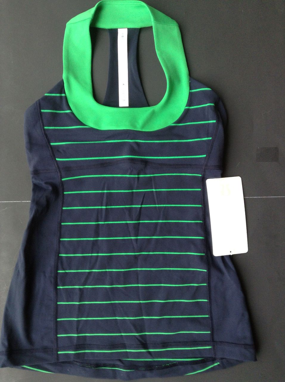 Lululemon Scoop Neck Tank *Luon Light - Slalom Stripe Inkwell / Green Bean / Inkwell