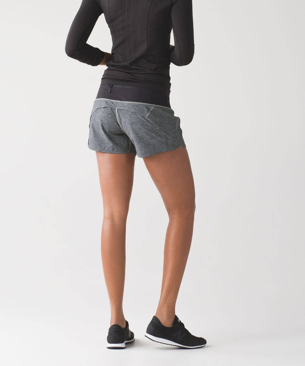 Lululemon Run Times Short - Heathered Texture Printed Greyt Deep Coal / Black