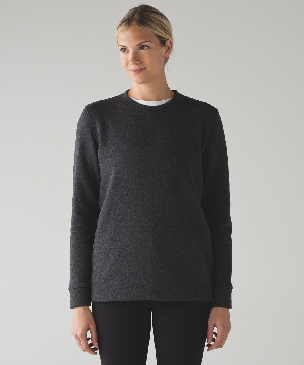 Lululemon Yes Fleece Pullover - Heathered Black / Black - lulu ...