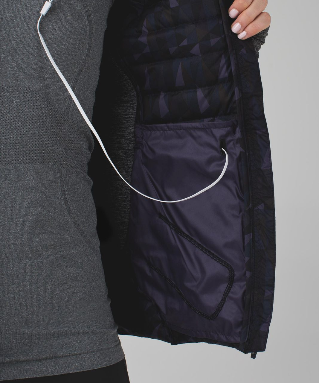 Lululemon Fluff Off Jacket - Stained Glass Love Nightfall Black