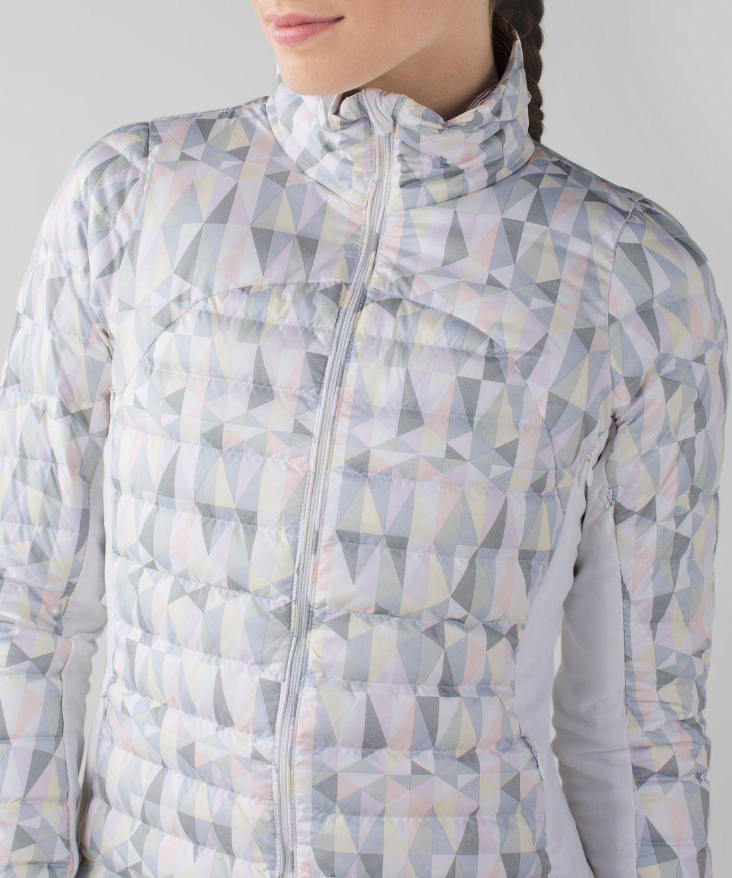 Lululemon Fluff Off Jacket - Stained Glass Love White Neutral Blush / Tonka Stripe Heathered Slate White