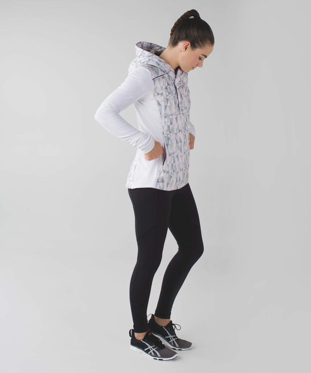 Lululemon Fluff Off Pullover - Stained Glass Love White Neutral Blush / Tonka Stripe Heathered Slate White