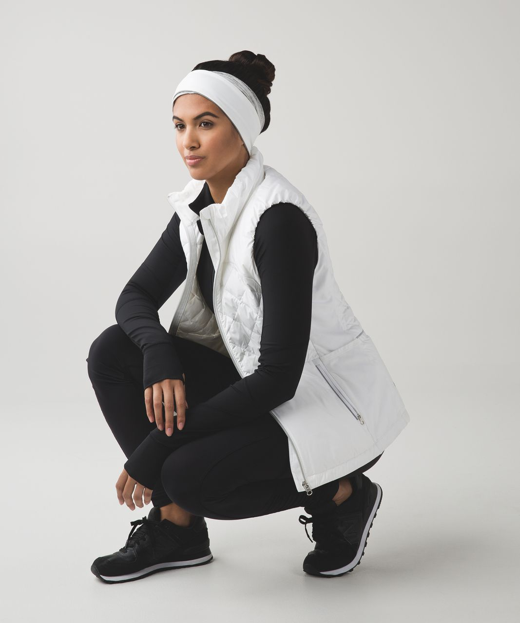 Lululemon Run And Done Ear Warmer (Softshell) - Space Dye Camo White Silver Spoon / White