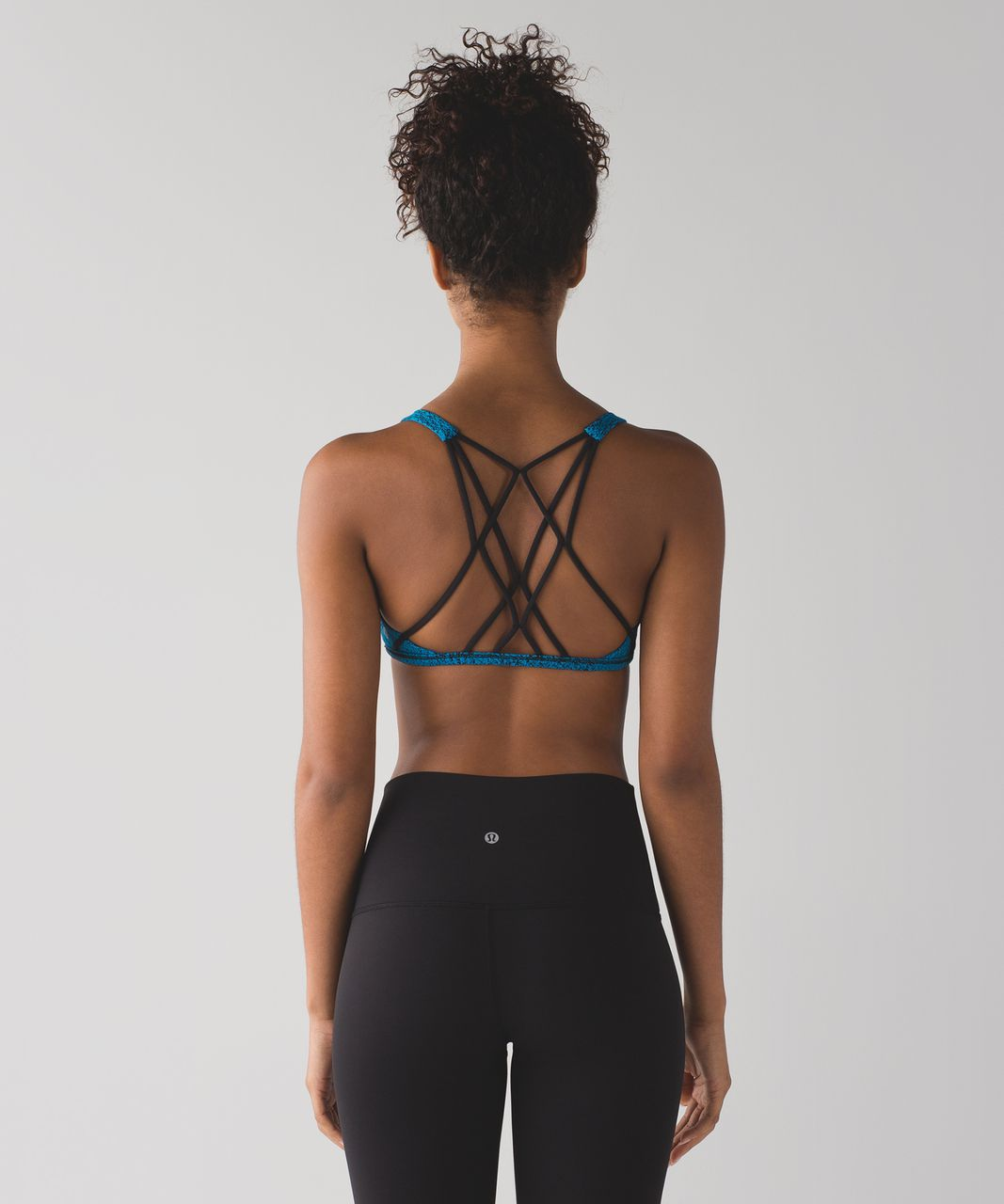 Lululemon Free To Be Zen Bra - Power Luxtreme Spray Jacquard Shocking Blue Black / Black