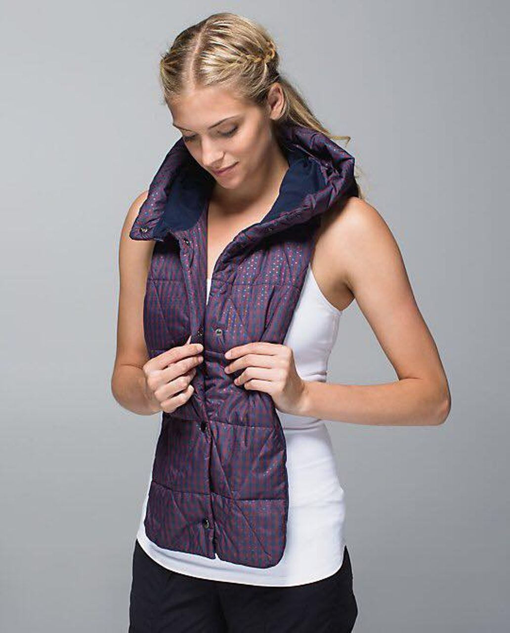 Lululemon Dickie - Gin Gin Gingham Embossed Inkwell Bordeaux Drama